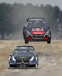Petter Solberg leads Sebastien Loeb in qualifying during day two of the 2018 FIA World Rallycross Championship at Silverstone, Towcester.
