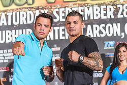 LOS ANGELES, California/USA (Friday, Aug 23 2013) - Pro boxer Julio Cesar Chavez Jr (46-1-1, 32 KOs) and pro boxer Bryan Vera (46-1-1, 32 KOs) (right) pose for the press conference at the Millenium Biltmore Hotel to announce the Chavez jr vs Vera fight next September 28 at the StubHub Center in Carson, CA. Los Angeles,CA USA. 29th August 2013. Fees must be agreed for image use. Byline, credit, TV usage, web usage or linkback must read: © SILVEXPHOTO.COM.