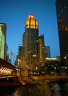 View of the Chicago Tribune building at night