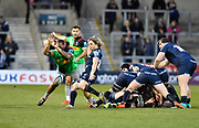 Harlequins No.8 Alex Dombrandt makes a break past Sale Sharks prop WillGriff John during a Gallagher Premiership match at the AJ Bell Stadium, Eccles, Greater Manchester, United Kingdom, Friday, April 5, 2019. (Steve Flynn/Image of Sport)