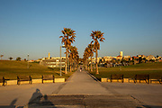 Israel, Jaffa beach front view of the Midron Yafo Park (Jaffa Slope) from the south at dusk