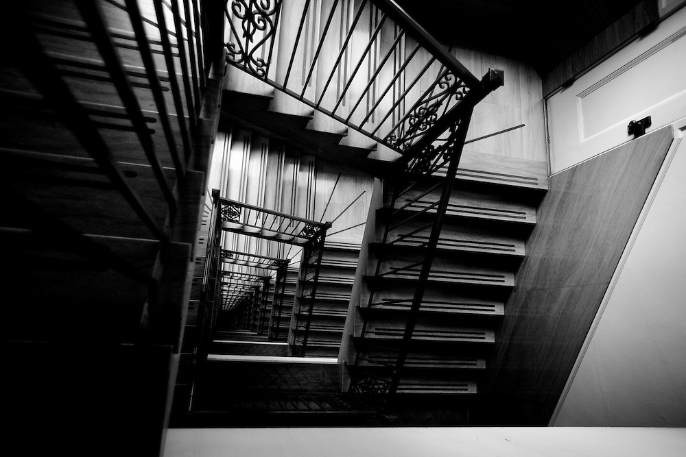 Don't see open stairwells like this anymore! This looking down one of two stairwells at 225 Bush Street, San Francisco, CA.