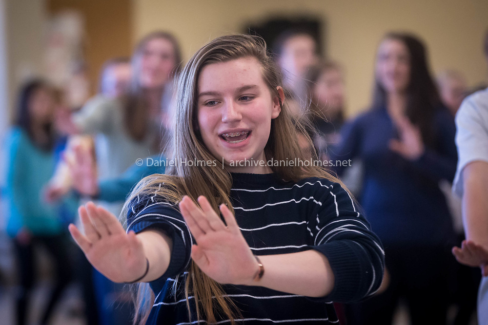 (3/20/17, WESTWOOD, MA) Eighth-grader Kalani Turbak, playing the role of Sharpay, rehearses for Disney's High School Musical at Thurston Middle School in Westwood on Monday. [Daily News and Wicked Local Photo/Dan Holmes]