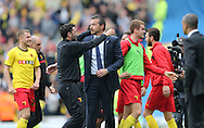 Head coach Slavisa Jokanovic and Assistant head coach Ruben Martinez celebrate victory during the Sky Bet Championship match between Brighton and Hove Albion and Watford at the American Express Community Stadium, Brighton and Hove, England on 25 April 2015.