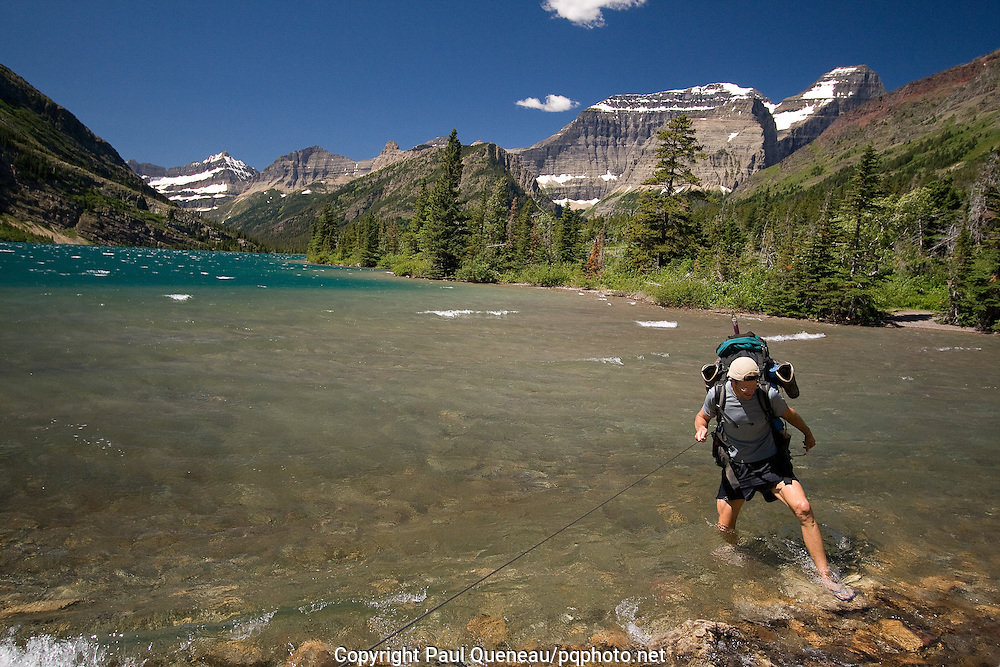 Stepping from the ice water of Cosley Lake and one of the wildest corners of Glacier National Park