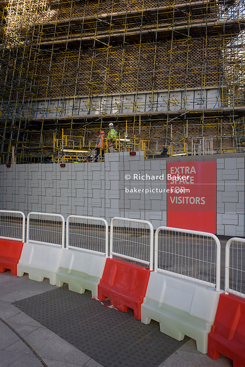 Construction landscape of Tate Britain art gallery on London's Southbank. The promise of more space for visitors is proclaimed by gallery owners.