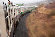 The Kenyan Railways train from Mombasa to Nairobi, dubbed historically as the Lunatic Express, shuttles through the Kenyan landscape