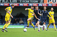 AFC Wimbledon midfielder Anthony Hartigan (8) battles for possession with Southend United midfielder Ethan Hamilton (16) during the EFL Sky Bet League 1 match between Southend United and AFC Wimbledon at Roots Hall, Southend, England on 12 October 2019.