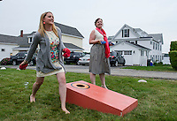 Jen and Tony's Wedding Day.  Games on the Lawn.  York, Maine.  ©2015 Karen Bobotas Photographer