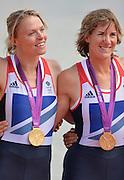 Eton Dorney, Windsor, Great Britain,..2012 London Olympic Regatta, Dorney Lake. Eton Rowing Centre, Berkshire.  Dorney Lake.  ..Women's Double Scull,  Gold medalist centre, GBR W2X.  left. Anna WATKINS (b) , Katherine GRAINGER (s) . .12:48:33  Friday  03/08/2012   [Mandatory Credit: Peter Spurrier/Intersport Images]