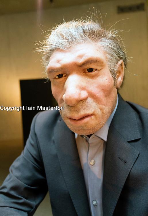 Neanderthal man wax model dressed as modern person on display at Neanderthal Museum in Mettmann Germany