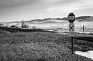 Rural rail crossing Wyoming