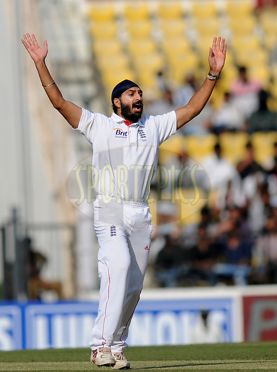 Monty Panesar of England appeals unsuccessfully for the wicket of Gautam Gambhir of India during day two of the 4th Airtel Test Match between India and England held at VCA ground in Nagpur on the 14th December 2012..Photo by  Pal Pillai/BCCI/SPORTZPICS .
