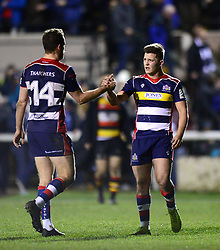 Callum Sheedy of Bristol Rugby congratulates Luke Morahan at the end of the game - Mandatory by-line: Dougie Allward/JMP - 30/12/2017 - RUGBY - The Athletic Ground - Richmond, England - Richmond v Bristol Rugby - Greene King IPA Championship