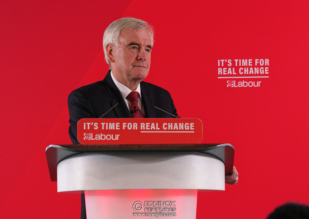 London, United Kingdom - 9 December 2019<br /> John McDonnell gives an economics speech in the run up to the general election 2019, on behalf of the Labour Party at Coin Street Community Builders, London, England, UK.<br /> (photo by: EQUINOXFEATURES.COM)<br /> Picture Data:<br /> Photographer: Equinox Features<br /> Copyright: ©2019 Equinox Licensing Ltd. +443700 780000<br /> Contact: Equinox Features<br /> Date Taken: 20191209<br /> Time Taken: 11453100<br /> www.newspics.com