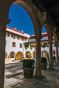 The abbey courtyard, Krka Monastery, Krka National Park, Dalmatia, Croatia