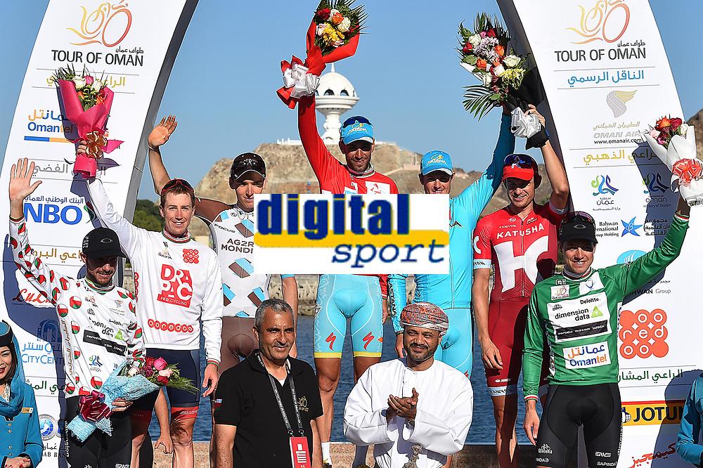 Podium / JANSE VAN RENSBURG Jacques (RSA)/ CANTY Brendan (AUS)/ BARDET Romain (FRA)/ NIBALI Vincenzo (ITA) Red Leader Jersey / FUGLSANG Jakob (DEN)/ KRISTOFF Alexander (NOR)/ BOASSON HAGEN Edvald (NOR) Green Points Jersey, during the 7th Tour of Oman 2016, Stage 6, The Wave Muscat - Matrah Corniche (130,5Km) on February 21, 2016 - Photo Tim de Waele / DPPI