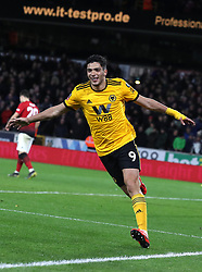 Wolverhampton Wanderers' Raul Jimenez celebrates scoring his side's first goal of the game during the FA Cup quarter final match at Molineux, Wolverhampton.