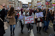Young Muslim women protest at the Stop Trump's Muslim ban demonstration on 4th February 2017 in London, United Kingdom. The protest was called on by Stop the War Coalition, Stand Up to Racism, Muslim Association of Britain, Muslim Engagement and Development, the Muslim Council of Britain, CND and Friends of Al-Aqsa. Thousands of demonstrators gathered to demonstrate against Trumps ban on Muslims, saying it must be opposed by all who are against racism and support basic human rights, and for Theresa May not to collude with him.