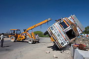 Truck overturned in traffic accident on Delhi to Mumbai National Highway 8 at Jaipur, Rajasthan, Northern India