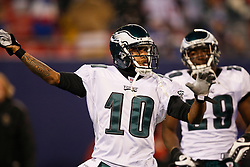 Philadelphia Eagles wide receiver DeSean Jackson #10 before the NFL game between the Philadelphia Eagles and the New York Giants on December 13th 2009. The Eagles won 45-38 at Giants Stadium in East Rutherford, New Jersey. (Photo By Brian Garfinkel)