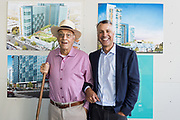 SWENSON owner, Barry Swenson (left), and son, Case Swenson, pose for a portrait during SVBJ's BizMix presented by SWENSON at The Grad in Downtown San Jose, California, on July 31, 2019. (Stan Olszewski for Silicon Valley Business Journal)