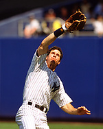 BRONX, NY - 1998: Paul O'Neill of the New York Yankees fields during an MLB game at Yankee Stadium during the 1998 season.  (Photo by Ron Vesely) Subject:   Paul O'Neill