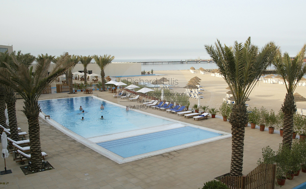 Swimming pool at the Hilton Resort along the Persian Gulf in Kuwait.