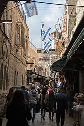 23 February 2020, Jerusalem: Israeli flags hang over a street in the Jerusalem Old City.