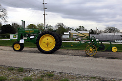 04 May 2013:   Arranged to coincide and be a part of the Red Corridor Route 66 festival, the village of Lexington hosts an antique tractor show.  Roger Whaley is the chairman of the organizing committee.  1937 John Deere (A) with vintage plow holding 3 shares.