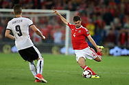 Ben Davies of Wales (r)  in action. Wales v Austria , FIFA World Cup qualifier , European group D match at the Cardiff city Stadium in Cardiff , South Wales on Saturday 2nd September 2017. pic by Andrew Orchard, Andrew Orchard sports photography