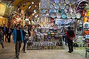 Western tourists shopping in The Grand Bazaar, Kapalicarsi, great market in Beyazi, Istanbul, Turkey