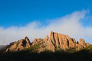 Granite rock spires at sunset above McMurdy Park, Lost Creek Wilderness, Colorado.