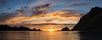 Sunset over sea at Haukland beach, Vestvågøy, Lofoten Islands, Norway