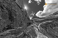 The Narrow section of the Highline Trail above Going to the Sun Road in Glacier National Park, Montana, USA