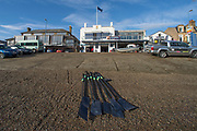 Putney, London, Varsity, Tideway Week, 5th April 2019, Embankment, OUBC Blades, of Imperial College  on the beach in front of Imperial College Boathouse, Oxford/ Cambridge Media week, Championship Course,<br /> [Mandatory Credit: Peter SPURRIER], Friday,  05.04.19,