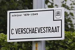 August 18, 2017 - Kortrijk, BELGIUM - Illustration picture shows a traffic sign at the Cyriel Verschaevestraat street in Marke, Kortrijk, Friday 18 August 2017. Various street names dedicated to Nazi collaborators have sparked debate. Cyriel Verschaeve was a priest and writer, who persistently called for youths to join the Waffen-SS foreign legions to fight Bolshevism at the Eastern Front...BELGA PHOTO NICOLAS MAETERLINCK (Credit Image: © Nicolas Maeterlinck/Belga via ZUMA Press)