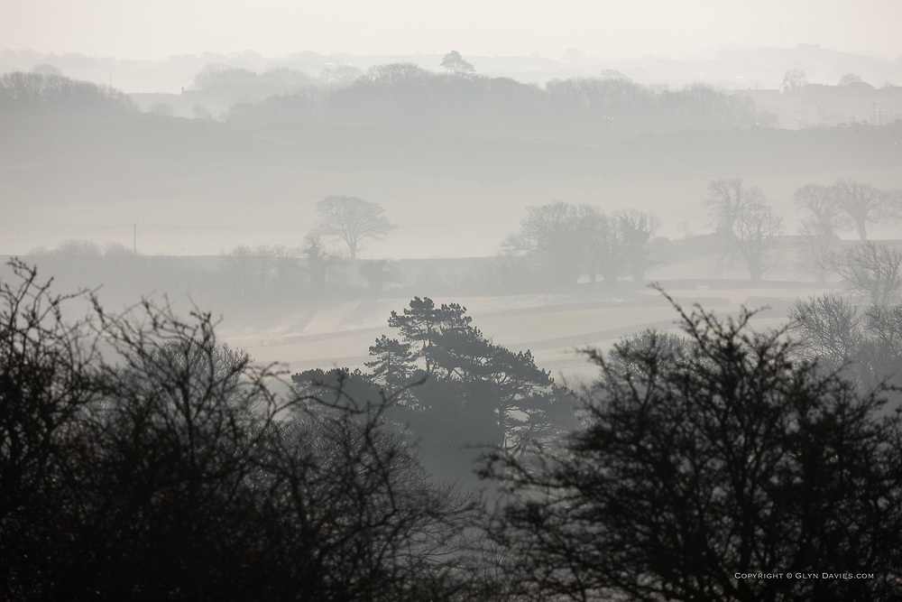 Early morning fog hovers over a rural Anglesey landscape at Llanbedrgoch between Talwrn and Pentraeth on the isle of Anglesey. As the sun rose the fog became mist and then gradually evaporated and disappeared.