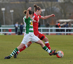 Annie Heatherson of Yeovil Town Ladies competes with Loren Dykes defender for Bristol City Women - Mandatory by-line: Paul Knight/JMP - Mobile: 07966 386802 - 28/02/2016 -  FOOTBALL - Stoke Gifford Stadium - Bristol, England -  Bristol City Women v Yeovil Town Ladies - FA Cup fourth round