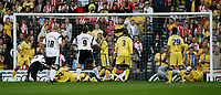 Photo: Steve Bond.<br />Derby County v Southampton. Coca Cola Championship. Play Off Semi Final, 2nd Leg. 15/05/2007. Darren Moore (L) watches as his header crosses the line