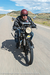 Kevin Waters riding his 1931 Sunbeam M9 near Grand Junction, Colorado during Stage 10 (278 miles) of the Motorcycle Cannonball Cross-Country Endurance Run, which on this day ran from Golden to Grand Junction, CO., USA. Monday, September 15, 2014.  Photography ©2014 Michael Lichter.