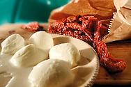 Bufallo mozzarella and sun dried tomatoes food photography