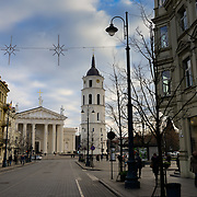 Architecture of Vilnius main street -Gediminas Avenue, Vilnius Cathedral square on background,  Lithuania