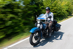 Gary Shorman riding his 1940 Harley-Davidson WL750cc Flathead in the Cross Country Chase motorcycle endurance run from Sault Sainte Marie, MI to Key West, FL (for vintage bikes from 1930-1948). Stage 5 had riders cover 213 miles from Bowling Green, KY to Chatanooga, TN USA. Tuesday, September 10, 2019. Photography ©2019 Michael Lichter.