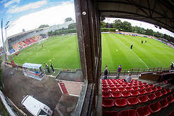 Brechin City's home ground Glebe Park. Brechin City 0 v 4 Inverness Caledonian Thistle, Scottish Championship game played 26/8/2017.