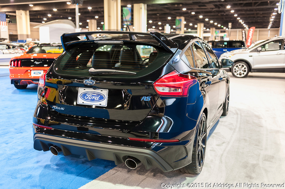 CHARLOTTE, NC, USA - November 11, 2015: Ford Focus RS on display during the 2015 Charlotte International Auto Show at the Charlotte Convention Center in downtown Charlotte.