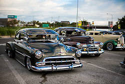 """October 7, 2018 - Agui, Aichi, Japan - Lowrider cars seen parked on the Agui highway service station in Japan..They are customized vehicles belonging to one of Japan's oldest lowrider clubs """"Pharaohsâ (Credit Image: © Takahiro Yoshida/SOPA Images via ZUMA Wire)"""