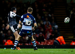 Sam Davies of Ospreys kicks ahead<br /> <br /> Photographer Simon King/Replay Images<br /> <br /> Guinness PRO14 Round 21 - Cardiff Blues v Ospreys - Saturday 27th April 2019 - Principality Stadium - Cardiff<br /> <br /> World Copyright © Replay Images . All rights reserved. info@replayimages.co.uk - http://replayimages.co.uk