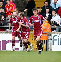 Photo: Mark Stephenson/Richard Lane Photography. <br /> Scunthorpe United v Cardiff City. Coca-Cola Championship. 19/04/2008. Scunthorpe's Paul Hayes (C) celebrates his goal