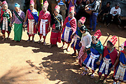 Kayah (Red Karen) ethnic minority villagers dance at a funeral on 18th January 2016 in Kayah State, Myanmar. Myanmar is one of the most ethnically diverse countries in Southeast Asia with 135 different indigenous ethnic groups with over a dozen ethnic Karenni subgroups in the Kayah region.